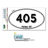 405 - アッシャー, [OK] - オクラホマ州 - 楕円形市外局番ステッカー