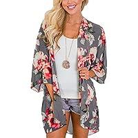 MayBuy Women's Flowy Chiffon Kimono Cardigan Top Boho Floral Beach Cover Up Casual Loose Shirt