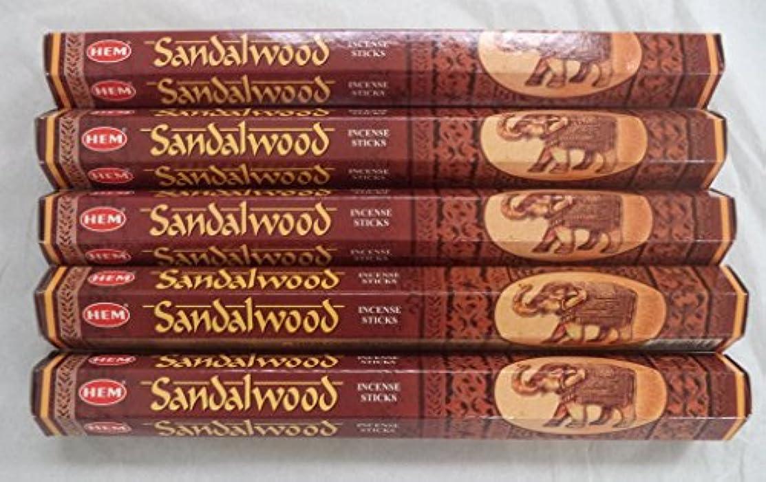 予測子疲れた聖域Hemサンダルウッド100 Incense Sticks ( 5 x 20スティックパック)