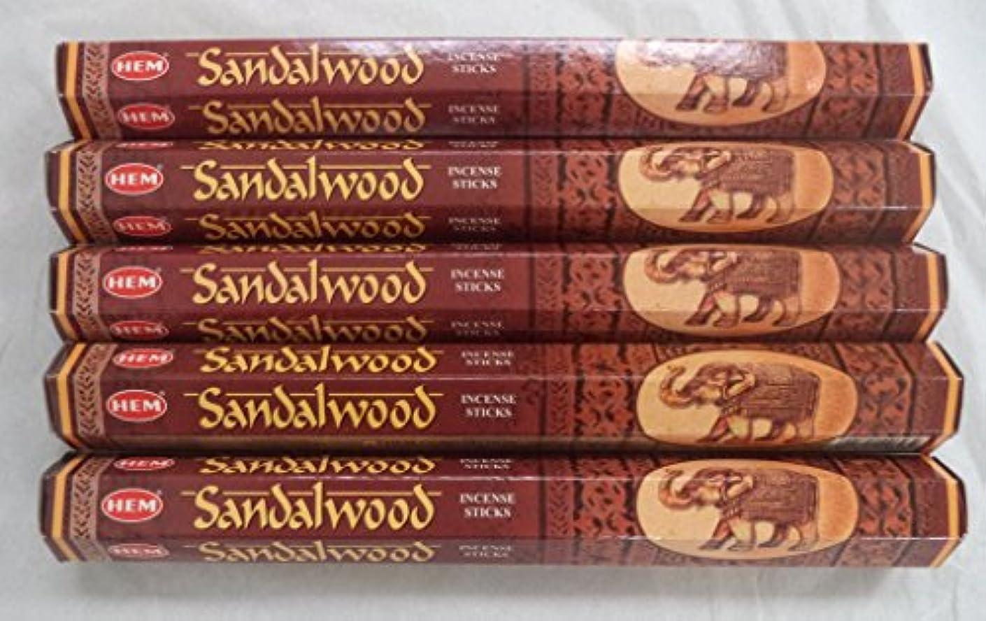 バーチャル振る舞い間違っているHemサンダルウッド100 Incense Sticks ( 5 x 20スティックパック)