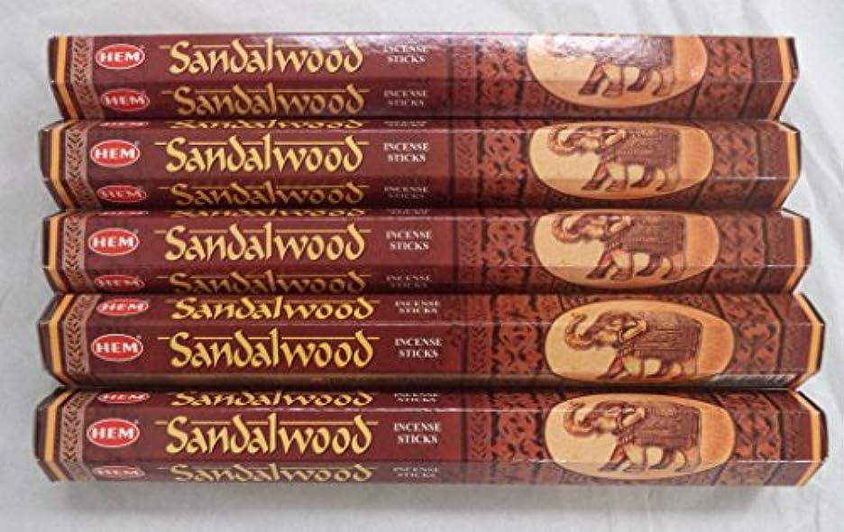 ビン放牧する不忠Hemサンダルウッド100 Incense Sticks ( 5 x 20スティックパック)