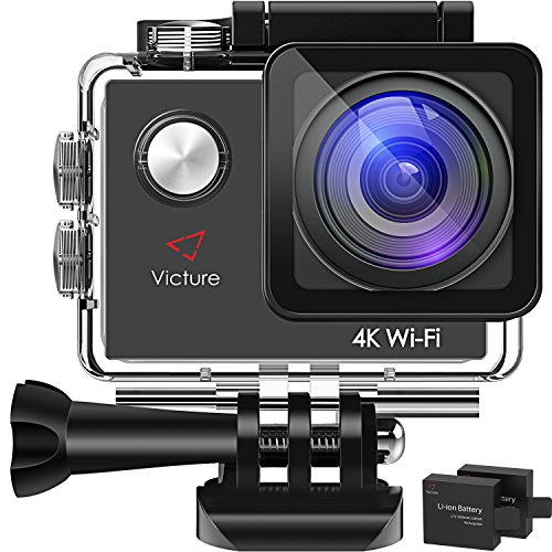 Victure アクションカメラ 4K超高画質 1600万画素 WIFI 2個電池 2インチ画面 170度広角 30M防水 複数部品