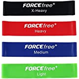 "Forcefree+ Resistance Loop Bands Set of 4 - Exercise Workout Bands for Physical Therapy,Pilates,Yoga,Booty Leg Lower Body Muscles Mobility and Strength Training 10""x2"" - Carry Bag & Instruction Guide"