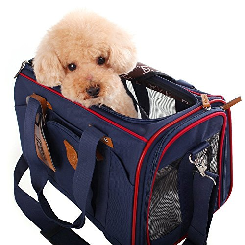 JimmyPet ペットキャリーバッグ(小型犬用 猫用)pet bag carrier 組み立て・折りたたみが簡単!肩掛けもできる軽量ペットキャリー 折り畳ソフトキャリー かわいいキャリーバッグ お出かけ用品 (ブルー) 41*28*28cm