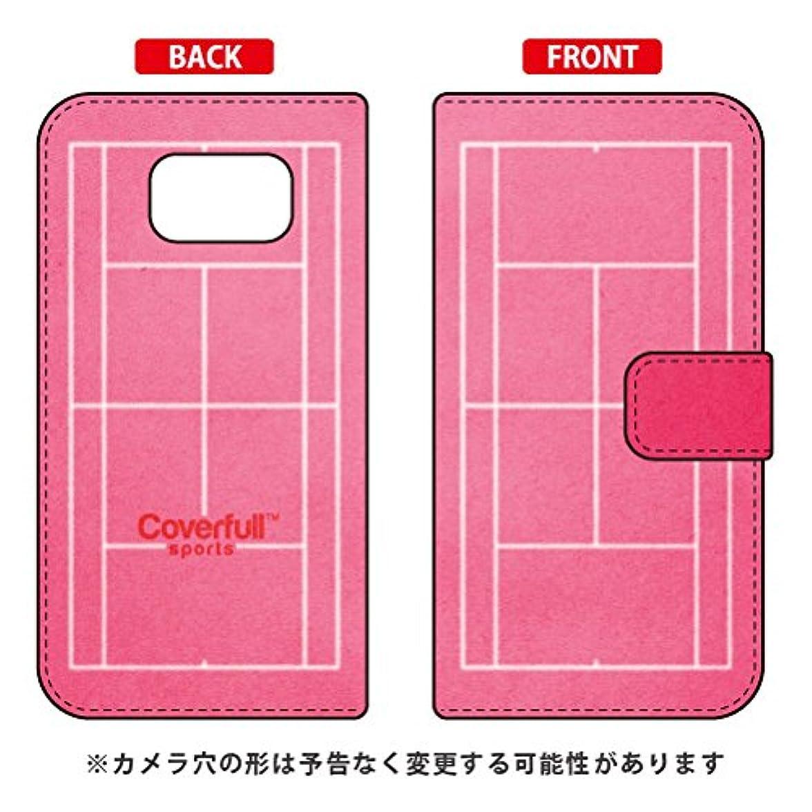 群れ自我シンプトン[Galaxy S6 SC-05G/docomo専用] Coverfull スマートフォンケース 手帳型スマートフォンケース テニスコート ピンク DSC05G-IJTC-401-MHY6