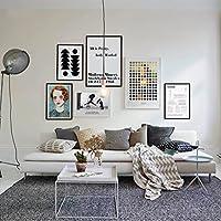 木製額縁 写真壁モダンシンプルなソリッドウッドフォトフレーム6コンボ描画絵画装飾絵画リビングルームソファの背景、180 * 105cm、インストールが簡単