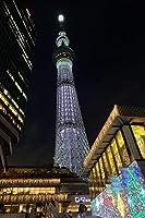 【日本の風景ポストカード】東京スカイツリーのある景色夜景の葉書ハガキはがき photo by MIRO