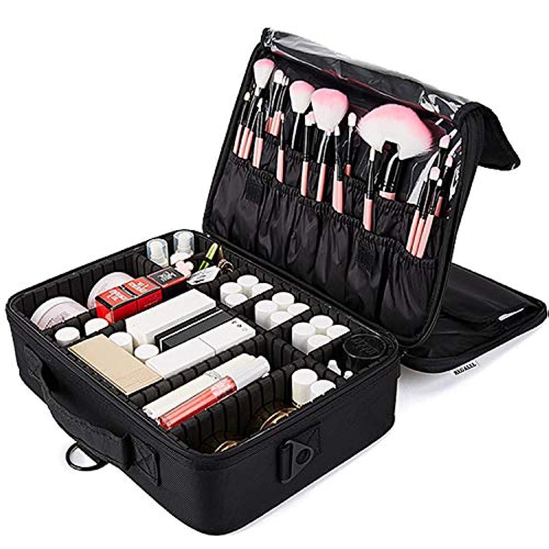 キモいクライアント正統派REGALLL メイクボックス 大容量 コスメボックス プロ用 持ち運び便利 高品質3層化粧箱 收納抜群コスメ収納 多機能 旅行用 ブラック