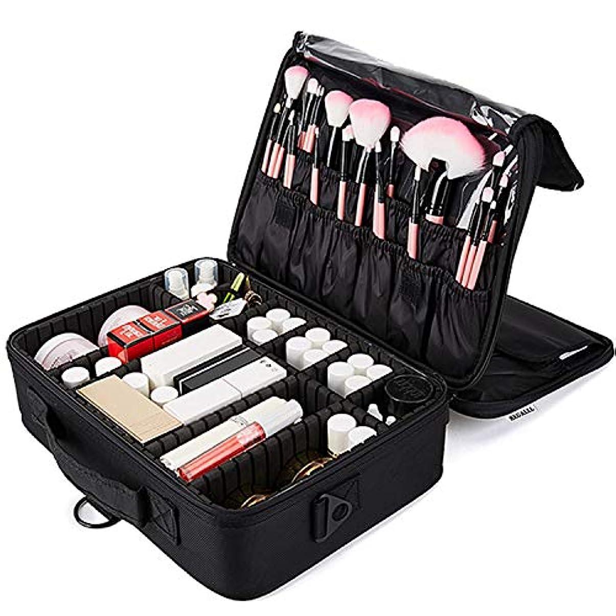 お風呂を持っているつまずく等REGALLL メイクボックス 大容量 コスメボックス プロ用 持ち運び便利 高品質3層化粧箱 收納抜群コスメ収納 多機能 旅行用 ブラック
