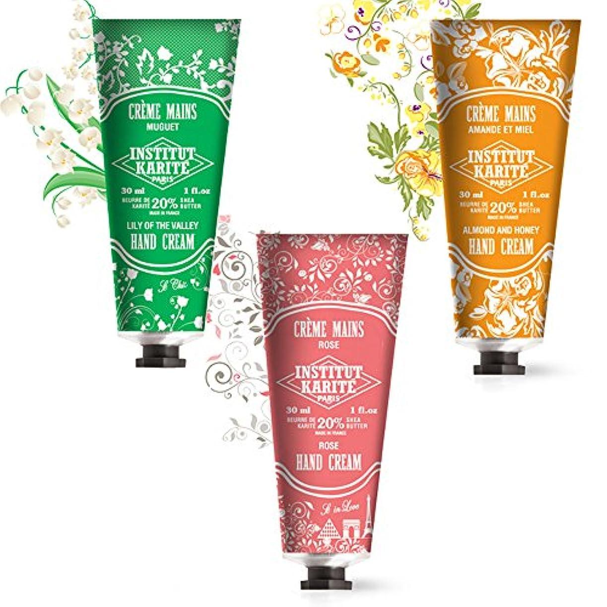 健康驚かす決定するハンドクリーム 人気ランキング 上位の ローズ すずらん アーモンド 3点セット INSTITUT KARITE インスティチュート カリテ Nourishing Hand Cream 30ml 3個