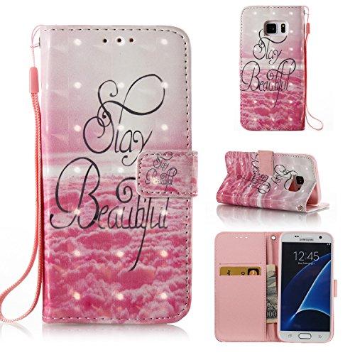 SevenPanda Samsung S7 Edge携帯電話ケース用3Dケース、3Dキラキララグジュアリーケース、Galaxy S7 Edgeケース用ラインストーン携帯電話ケースブックスタイルフリップケースケースフリップケースカバーフォリオウォレット磁気ブリーウォレットPUレザーショックプルーフスウィートシェルバンパーカバー保護ケースケースアクセサリー - 美しい