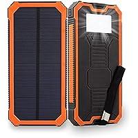 【2018新登場】ソーラーバッテリー Elzle 15000mAh超大容量 ソーラーチャージャー ソーラーパネル スマートフォン ソーラー充電器 太陽エネルギーパネル電池充電器 2USBポート(1A+2A)急速充電 高輝度6LEDライト照明 SOS救急信号灯搭載 耐衝撃性 滑り止め 軽量 耐震 UL認証 ROSH認証 旅行/ハイキング/登山/地震/災害時に活躍 iPhone/Android/iPad/スマホ/タブレット/ゲーム機等対応 (オレンジ)
