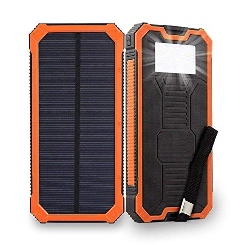 2018新登場ソーラーバッテリー Elzle 15000mAh超大容量 ソーラーチャージャー ソーラーパネル スマートフォン ソーラー充電器 太陽エネルギーパネル電池充電器 IPX5級防水 2USBポート(1A+2A)急速充電 高輝度6LEDライト照明 SOS救急信号灯搭載 耐衝撃性 滑り止め 軽量 耐震 UL認証 ROSH認証 旅行/ハイキング/登山/地震/災害時に活躍 iPhone/Android/iPad/スマホ/タブレット/ゲーム機等対応 (オレンジ)