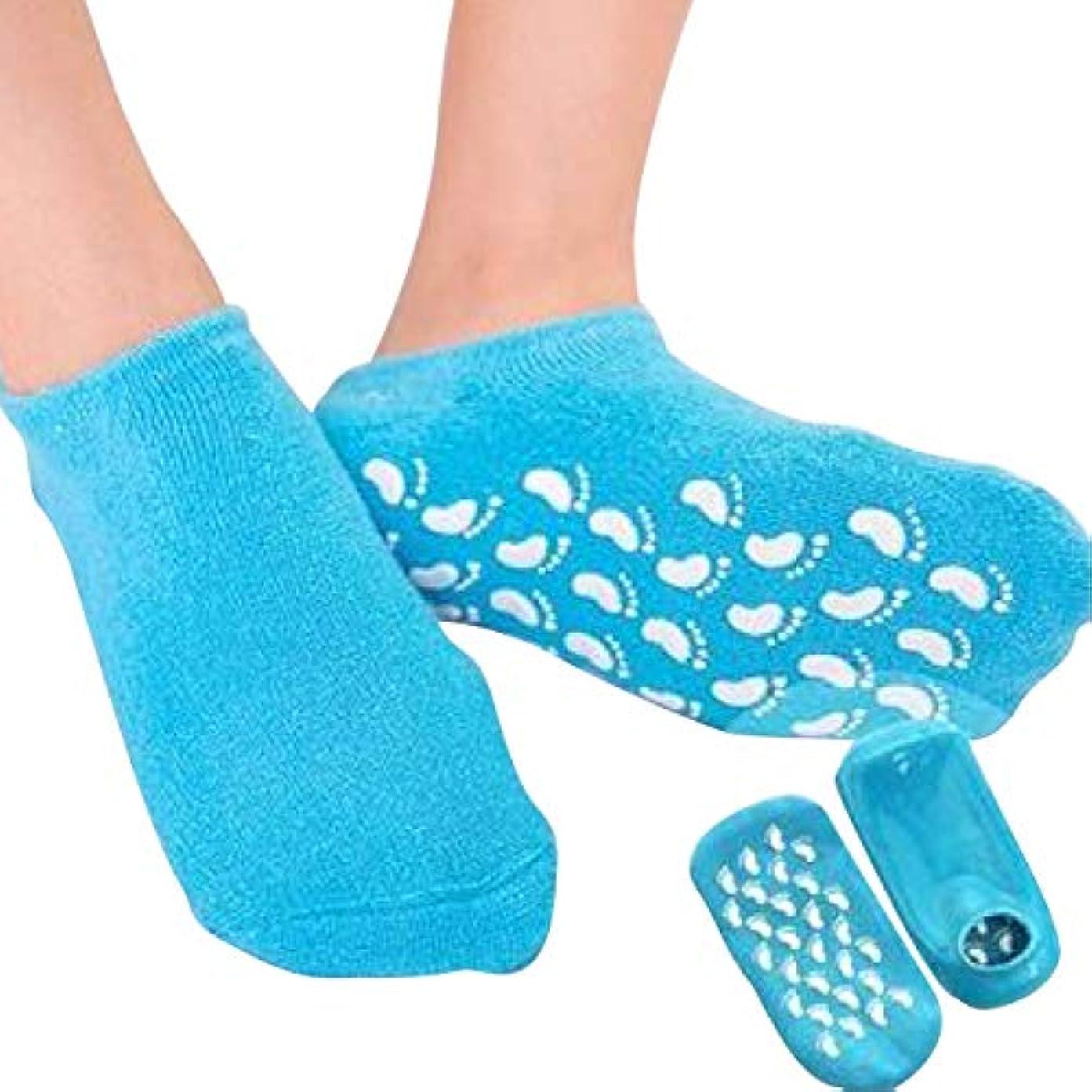 田舎暴君ナイロンS&E かかと 靴下 保湿 ソックス 美容成分 潤い ゲル付き 滑り止め 足裏 足の甲 ホホバオイル グレープシード ビタミンE ラベンダー ローズ (ブルー)