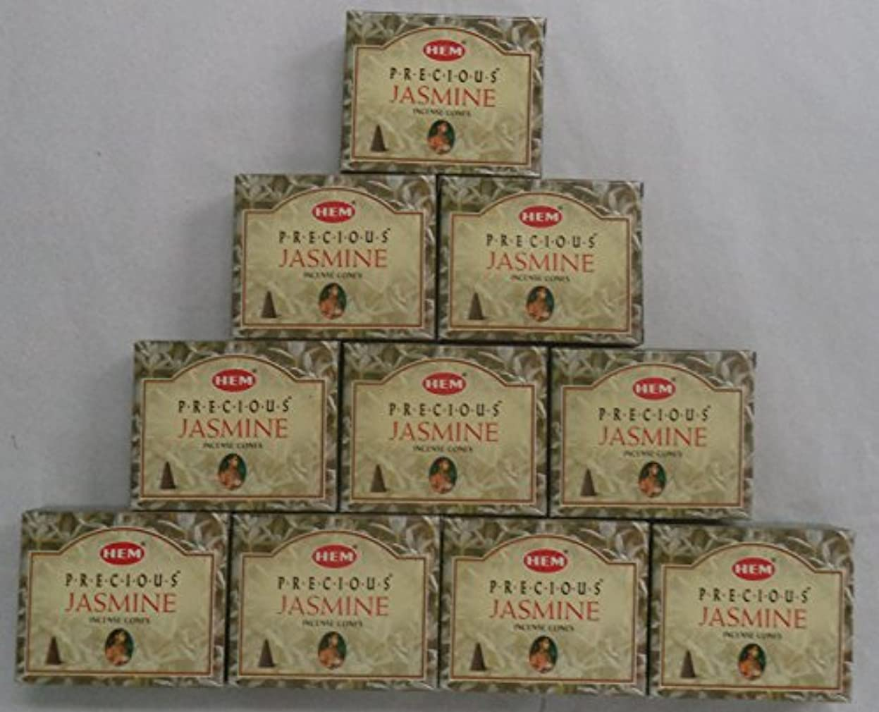 歌ネット地球HEM Incense Cones: Precious Jasmine - 10 Packs of 10 = 100 Cones by Hem