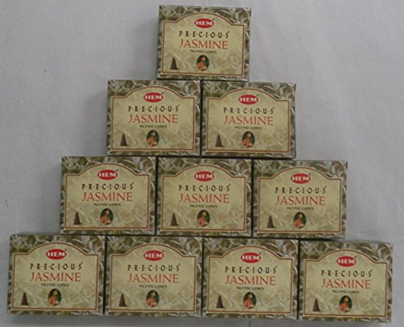 刺すヒギンズチャペルHEM Incense Cones: Precious Jasmine - 10 Packs of 10 = 100 Cones by Hem