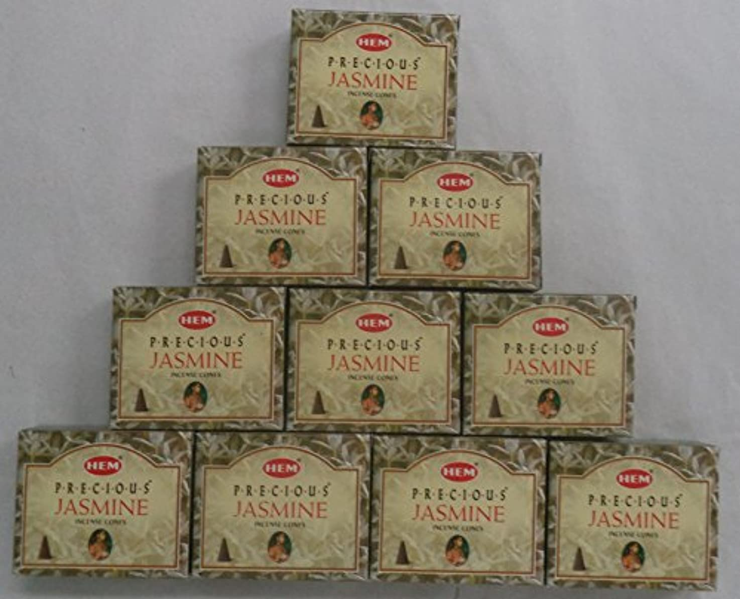 バックアップ成長古代HEM Incense Cones: Precious Jasmine - 10 Packs of 10 = 100 Cones by Hem