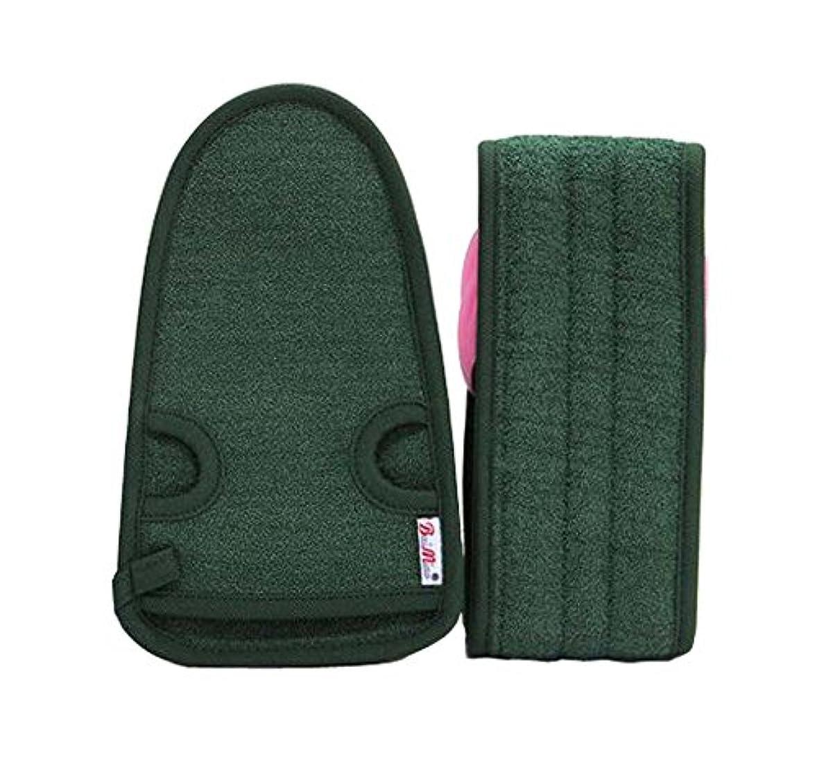 神話征服者ボウル男性のための実用的で柔らかいバス手袋の角質除去のバスベルト、アーミーグリーンの2