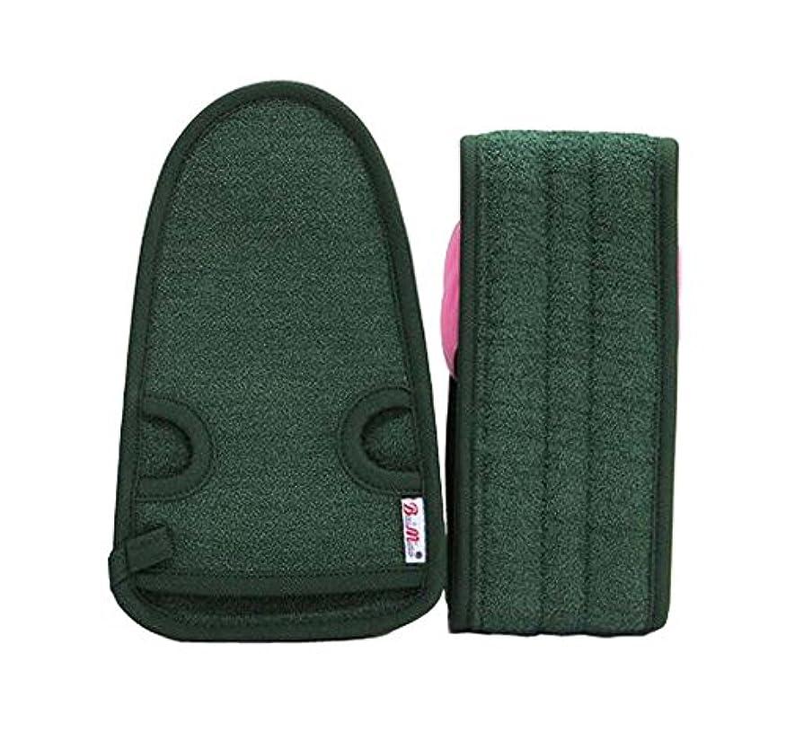 豊かにするヒロイック専制男性のための実用的で柔らかいバス手袋の角質除去のバスベルト、アーミーグリーンの2