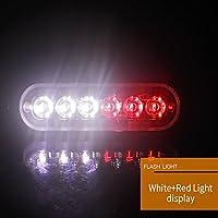 RaiFu 車点滅ライト 救急車警察ライト 消防士ストロボ警告灯 6Led 12V-24V 18W 2PCS/Set 12V-24V 18W ホワイトレッド