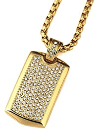 MCSAYS ヒップホップ ファッション hiphop メンズアクセサリー Steel Smooth Army Card Pendant With Full Of Rhinestone Dog Tag Hiphop