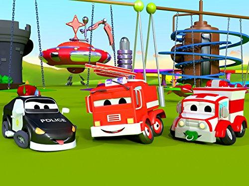 建設チーム: ダンプトラック、クレーン車とショベルカーがカーシティーに空飛ぶ椅子&ウォータータワーを建てる
