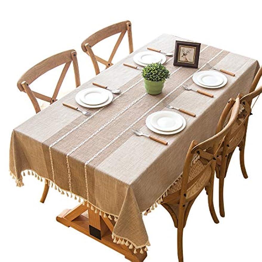 シェーバー正確にすでにテーブルクロス Timoise(ティーモイス) リネン 厚手 汚れ対策 北欧 スタイル シンプル 家庭用 お手入れ簡単 テーブルマット (ライトカーキ, 140x250)