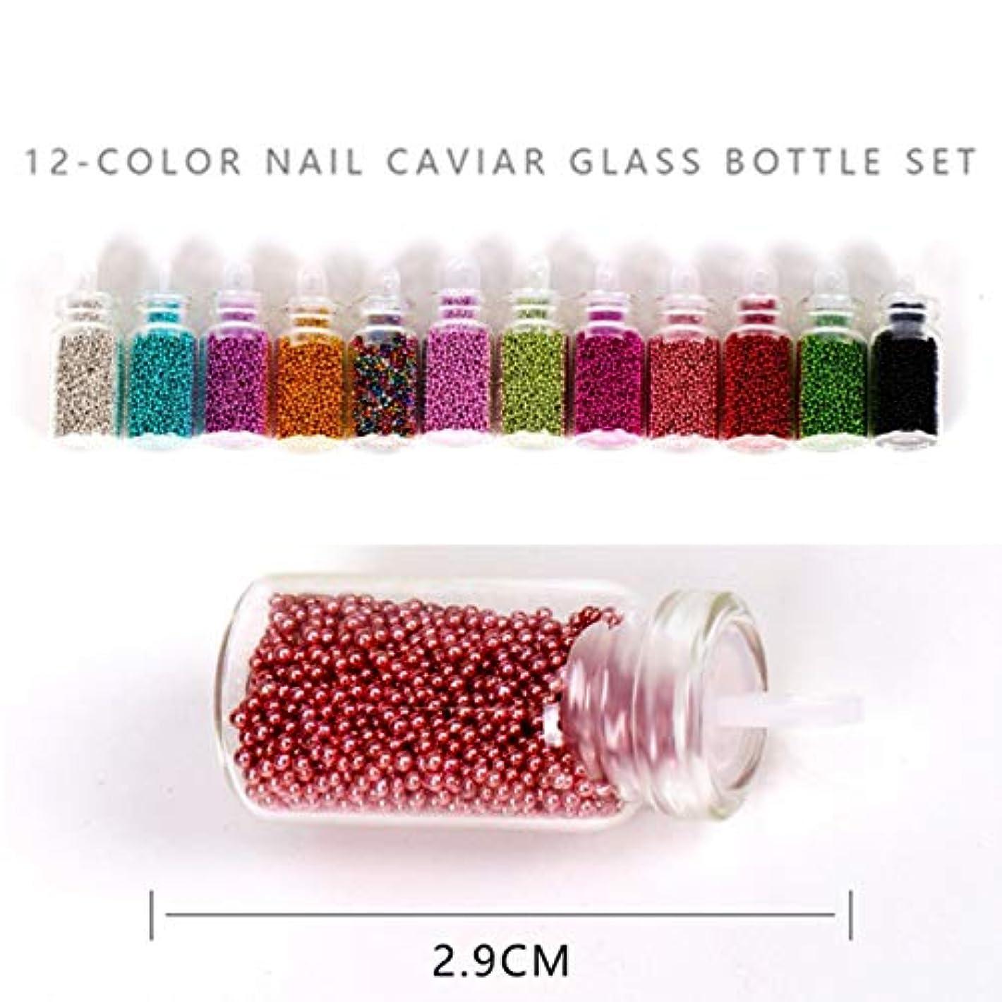 故意に誰でも収まるOU-Kunmlef セーフティDIYネイルスチールキャビアカラー1 mmスモールスチールボール12色混合カラーネイルアート装飾スーツ(None 12 Color Caviar Set)