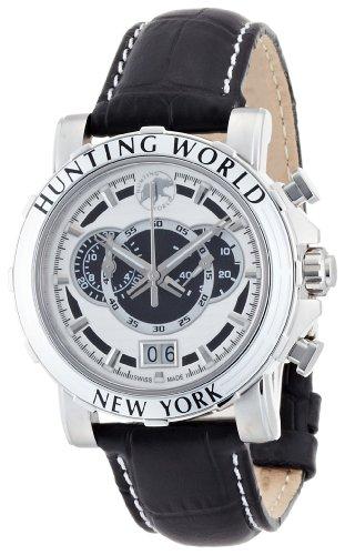 [ハンティングワールド]HUNTING WORLD 腕時計 イリス ホワイト 黒革 HW913WHBK メンズ