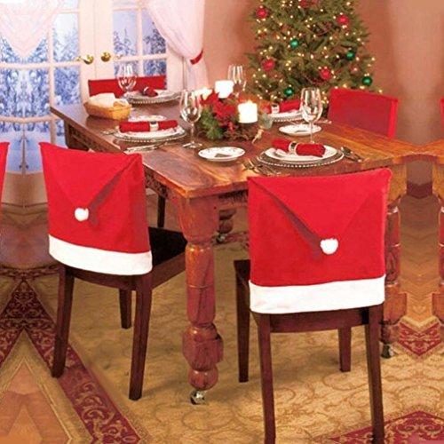 Jentayクリスマスサンタクロースの帽子の椅子の背中のカバー、クリスマスのディナーの装飾赤い食事の椅子のスリップカバースの装飾、65cm x 50cm、6のセット