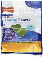 Nylabone Advanced Oral Care Dental Hearts Fresh Breath Dog Treats Pouch 14ct