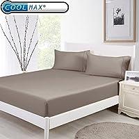 クールマックス&コットン冷却枕通気性Stay Cold枕プロテクター Queen 152x203CMx46CM ブラウン JHT Manufacturing