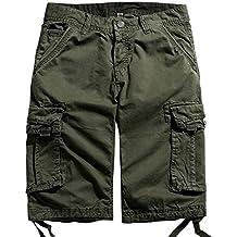 chouyatou Men's Cotton Loose Fit Multi Pocket Twill Comfort Cargo Shorts