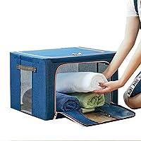 [QIFENGDIANZI]布団収納袋 衣類収納ケース ワイヤー入り 大容量 クリア窓付き 片づけ 引っ越しバッグ 運搬 防水防塵 湿気防止 カビ対策 水洗い 通気性抜群 ブルー 66L