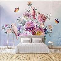 Lixiaoer カスタム写真花の壁紙手描きの花ガーデン壁紙壁画ファッションリビングルームの寝室の壁紙壁画-200X140Cm