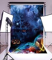 laeaccoビニールシンバックドロップ5x 7ft写真背景The Horrible Night Haunted House Ghost and Moon Pumpkin Lanternカラースモッグハッピーハロウィン子供Portraits 1.5( W ) x2.2( H ) Mフォトスタジオ小道具