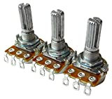 【ECM】 ギター・ベース・エフェクター用 16mmミニポット 可変抵抗器 スプリットシャフト ミリ仕様 10kΩ Aカーブ 3個セット ECM-STC-VR16A10k-KCx3p