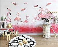 Bzbhart カスタム壁紙モダンなミニマルな手描きのフラミンゴの羽の壁紙リビングルームの3D壁紙-350cmx245cm