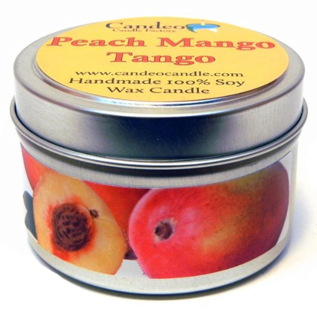受け入れためにいちゃつくピーチマンゴータンゴ4oz、スーパー香りつきSoy Candle Tin