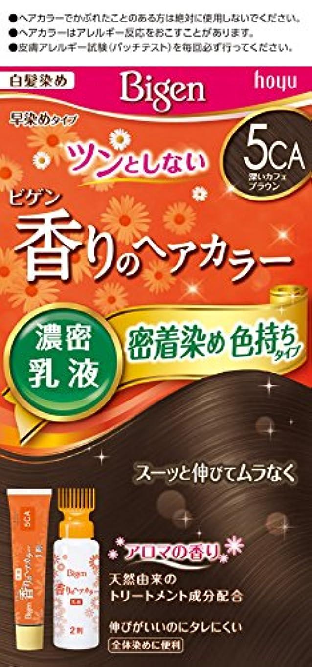 終わらせるレタッチ練習ビゲン香りのヘアカラー乳液5CA (深いカフェブラウン) 40g+60mL ホーユー
