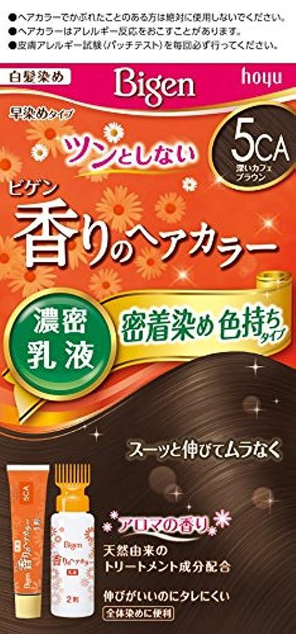 はさみ注意中にビゲン香りのヘアカラー乳液5CA (深いカフェブラウン) 40g+60mL ホーユー