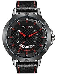 KONXIDO 腕時計 メンズ 日本製クォーツムーブメント レザーベルト 日付表示 アナログウォッチ 男性 時計 防水腕時計 カジュアル ビジネス ファッション 日本語取扱説明書付き レッド