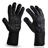 Wetest Premium 1 Pair Extreme Heat Resistant oven Gloves for Cooking Gloves for Bbq, Grilling, Baking, Black
