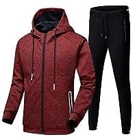 Mens Tracksuit Set, Hoodies Zip Trousers Gym Sports Suit Sets Joggers Pants (Color : RED, Size : S)