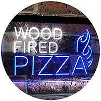 Wood Fired Pizza Dual LED看板 ネオンプレート サイン 標識 White & Blue 300 x 210 mm st6s32-i2887-wb