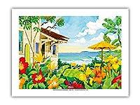良い生活 - トロピカルビーチハウス - ハワイ - ハワイ諸島 - オリジナルの水彩画からのもの によって作成された ロビン アルトマン - プレミアム290gsmジークレーアートプリント - 30.5cm x 41cm