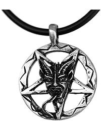 Invert Pentacle Pentagram Zatan laveyaneバフォメットSatanピューターペンダント+ 18