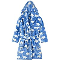 Children's Pajamas Kids Hooded Bath Robe - Fleece Novelty Towel Dressing Night Gown with All Over Printed Patterns, Long Sleeves & Pockets (Color : B Blue, Size : M)