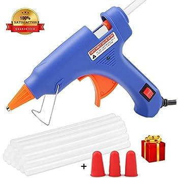 グルーガン MRLI小型グルーガン glue gun 溶融グルースティック25本付 軽いぐるーがん 便利な接著剤道具 ホットボンド 強力粘着グルー クイック修復 フィンガーキャップ&スイッチ付き(20ワット&ブルー)