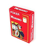Modiano Italian Poker Game Playing Cards - RED Poker - Large 4 Index - Single Card Deck - 100% Plastic Made in Italy by Modiano